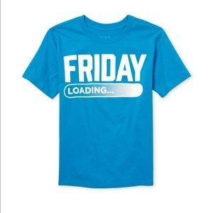 """NWT """"Friday: Loading..."""" Blue Top T-Shirt XS(4)"""